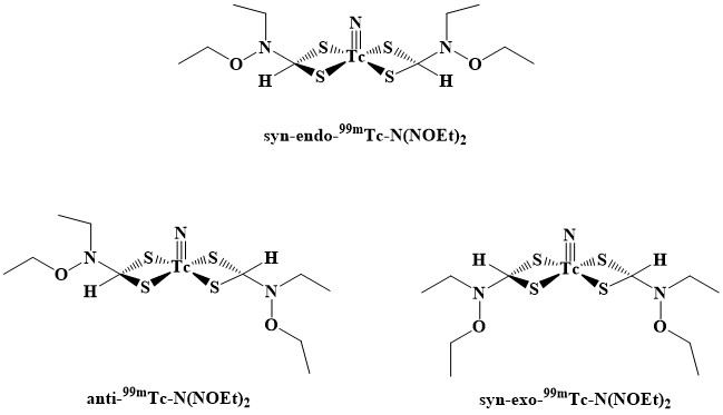 Insight into the Stability, Reactivity, Structural and Spectral Properties of the Anti, Syn-endo and Syn-exo Isomers of Bis(N-ethoxy-N-ethyl-dithiocarbamato)Nitrido Technetium-99m [99mTc-N(NOEt)2] Radiopharmaceutical