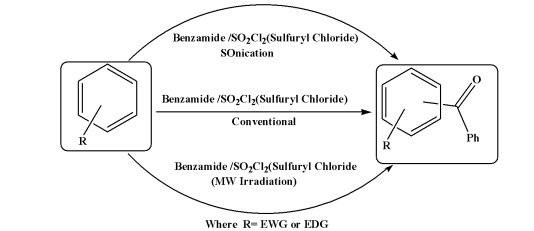 Ultrasonic and Microwave Effects on the Benzamide/Sulfuryl Chloride Mediated Benzoylation of Benzene Derivatives under Vilsmeier-Haack Conditions