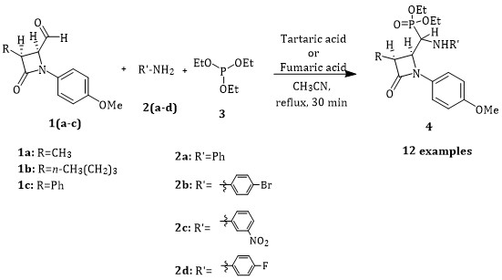 Efficient Synthesis of β-Lactam-Containing α-Aminophosphonates Using Fumaric Acid as Mild Catalyst