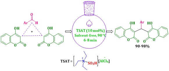 A Rapid and Highly Effectual Protocol for the Synthesis of Bis-coumarins using Triethylaminium-N-sulfonic Acid Tetrachloroaluminate under Solvent-Free Conditions