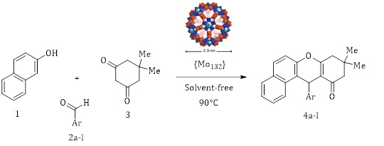 Successful Application of a Keplerate-type, Giant-ball Nanoporous Isopolyoxomolybdate as a Reusable Green Catalyst for Atom-economy Synthesis of Tetrahydrobenzo[a]xanthene-11-ones